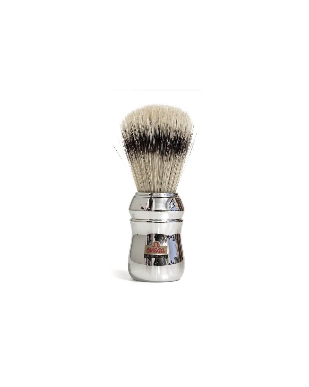 Pennello da barba Omega 48 setola 13,3 cm manico in ABS Silver professionale