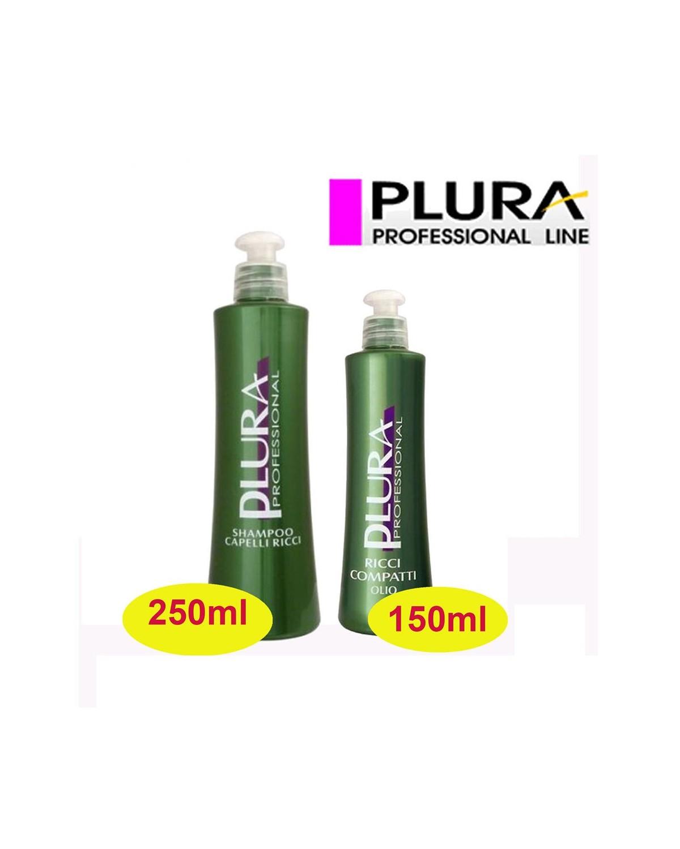 Kit per capelli - Shampoo 250ml + Olio ricci compatti 150ml Plura