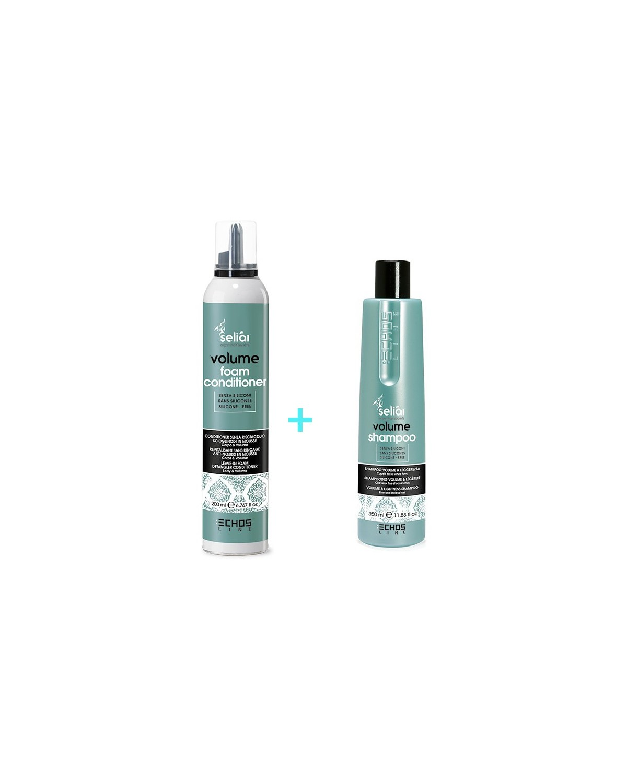 Kit Volume per capelli fini e senza tono Shampoo 350 ml + condizionatore senza risciacquo 200 ml Seliar