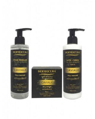 Kit facial: Leche limpiadora + Tónico, Agua micelar, Crema - Dermocura