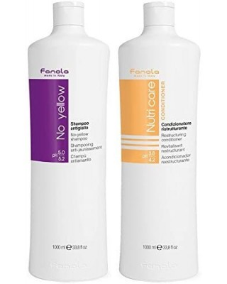 Fanola No Yellow Antigiallo Shampoo + Nutri Care Conditioner - 2000 Ml