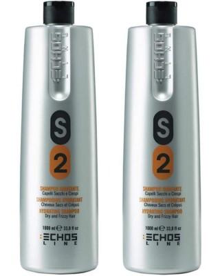 2X Shampoo S2 Idratante Capelli Secchi e Crespi - 1000 ml Echosline
