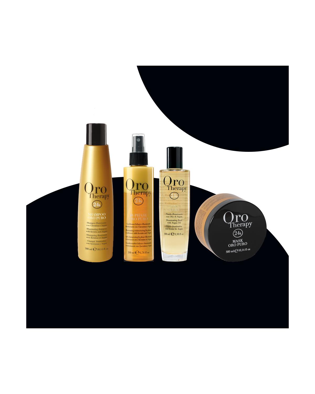 Kit Oro puro - Shampoo 300ml + Maschera 300ml + Fluido 100ml + Conditioner 200ml