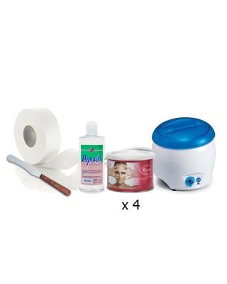 Delazione corpo- Scaldacera + 4 cere vaso+ Rotolo epilazione+ Spatola in legno+ Olio dopocera