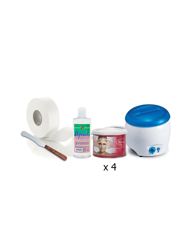 Eliminación del cuerpo - Scaldacera + 4 ceras jar + Rollo de depilación + Espátula de madera + Después del aceite
