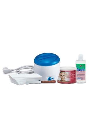 Body waxing kit Wax warmer + Wax pot 400ml + Hair removal strips + After-oil oil + Wooden spatula