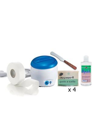 Depilazione corpo kit Scaldacera vaso+4 cere vaso depiwell+Rotolo epilazione+Olio dopocera+Spatola in legno