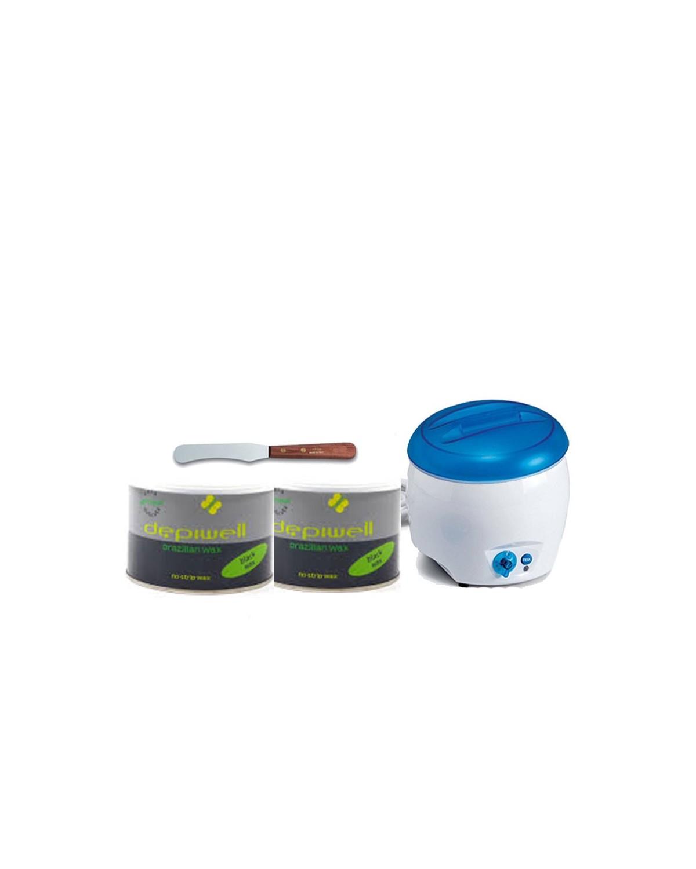 Kit epilazione corpo- Scaldacera+ 2 PZ cera brasiliana+ Spatola in legno