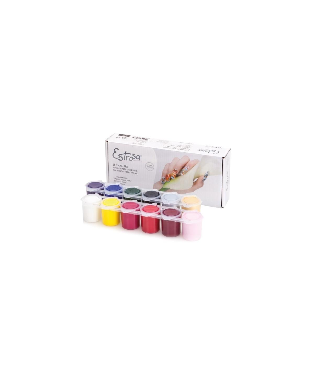 Set Nail Art 12 Colori Acrilici Estrosa cod. 7545