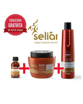 Kit Shampoo Capelli  shampoo 350 ml + Maschera 500 ml + Fluido  argan 30 ml Seliar a base di argan, seta e lino